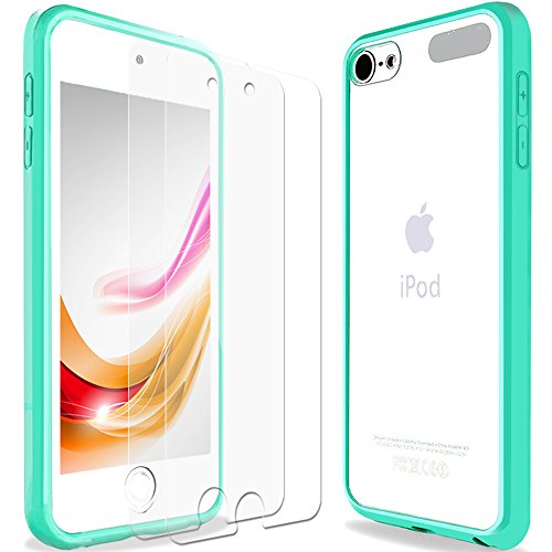 (iPod Touch 6 Case, iPod Touch 5 Case, ENDLER Hybrid TPU Bumper with 4 Corns Air Pocket Shock Absorption Scratch Resistant Hard Clear Back Case for Apple iPod Touch 5th 6th Gen (Mint Green Clear))
