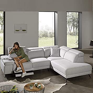 Kasalinea - Sofá de Esquina Gris Claro Relax eléctrico Kent ...