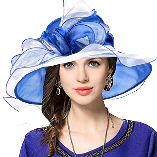 Two-Tone Bow Dress Church Baptism Wedding Tea Party Derby Hat