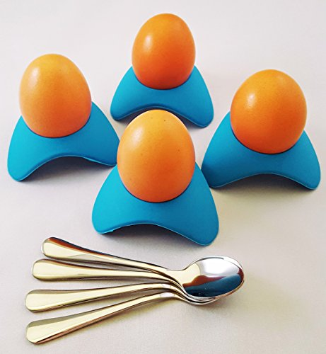Silicone Egg Cups and Stainless Steel Demitasse Egg Spoons Set of 4, Perfect for Serving Hard and Soft Boiled Eggs and Compliments Any Breakfast Place Setting, Sky Blue