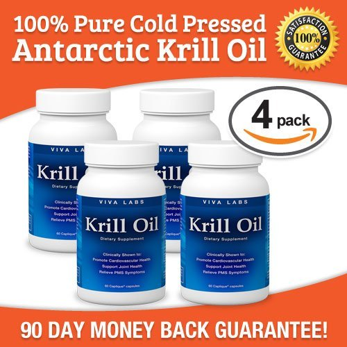 Viva Labs Krill Oil (Formerly Everest Nutrition): 100% Pure Cold Pressed Antarctic Krill Oil - Highest Levels of Omega-3s in the Industry, 1250mg/serving, 60 Capliques (4 Pack (60 Caps Each)) by Viva Labs