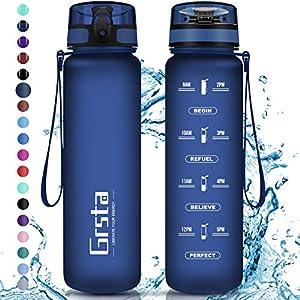 Grsta Gourde Sport, Bouteille 350ml/500ml/800ml/1l/1,5l, Bouteille d'eau avec Filtre et marqueur de Temps, Gourde…
