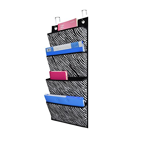 hanging File Folders Organizer, Fabric Office Supplies Storage Organizer, Wall Mount Pocket Chart Storage for School,Classroom, Home, Closet (zebra pattern) (Over Zebra)
