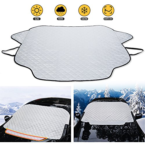 Car Windshield Snow Cover Magnetic Edges Aluminum, Thicker Waterproof Windshield Wipers Protective Covers, Auto Car Sun Shade Ice Cover Anti Snow Frost Ice Shield Dust, All Season Car Care Protector