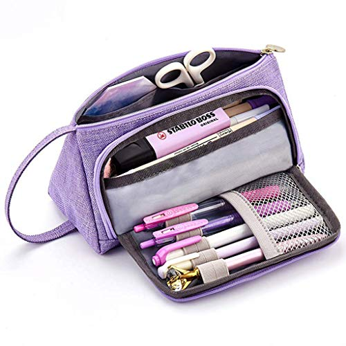 (m·kvfa Canvas Large Capacity Pencil Case Multifunctional Zipper School Portable Simple Coin Purse for Middle High School Office College Girl (Purple))
