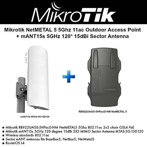 Mikrotik NetMETAL 5 5Ghz 11ac Outdoor AP +mANT15s 5GHz 120 15dBi Sector Antenna by Mikrotik