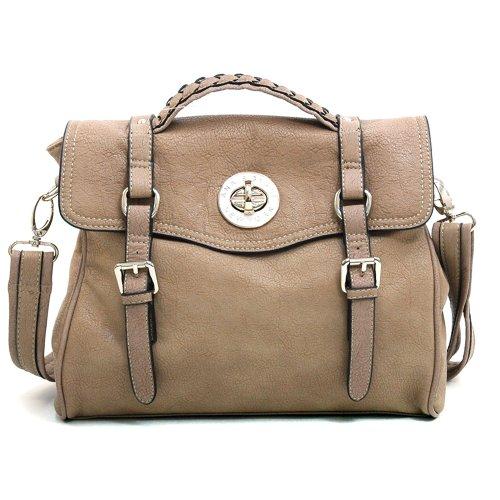 Belted Shopper Handbag (Anais Gvani Women's Fashion Belted Briefcase / Messenger Bag w/ Braided Accents -Tan)