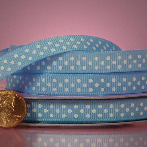 Blue Polka Dot Grosgrain Ribbon - Light Blue And White Polka Dots Grosgrain Ribbon, 3/8
