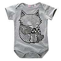 Hotone Baby Rompers Little Fox Figure Short Sleeve Suits Set 70 (0-6 Months)