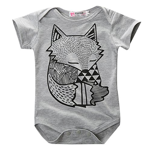Hotone Baby Boys Girls Rompers Kids Little Fox Figure Short Sleeve Suits Set, Gray, (6-12 Months)