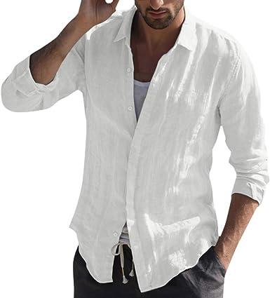 Camisa de Lino de Mezcla de algodón para Hombres Cuello Alto de ...