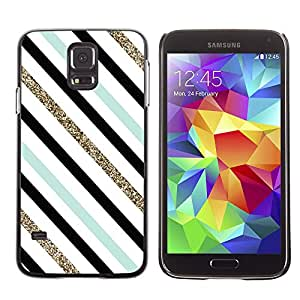 Paccase / SLIM PC / Aliminium Casa Carcasa Funda Case Cover para - Teal Black White Diagonal Lines - Samsung Galaxy S5 SM-G900