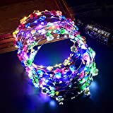 Glumes Party Favor LED Flower Crown Headband Lights Glow in The Dark for Womens Girls ,Floral Garland Wreath Headdress Wedding Birthday 2019 New Year Holiday Party Decors