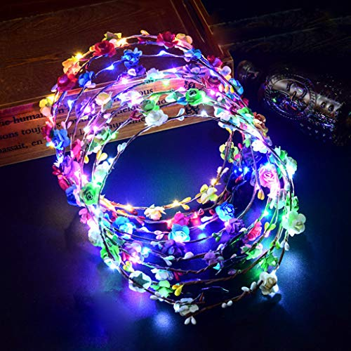 Glumes Party Favor LED Flower Crown Headband Lights Glow in The Dark for Womens Girls ,Floral Garland Wreath Headdress Wedding Birthday 2019 New Year Holiday Party Decors]()