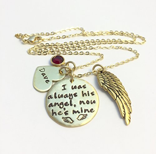Personalized Gold Tone Remembrance Cluster Necklace with Angel Wing and Birthstone.