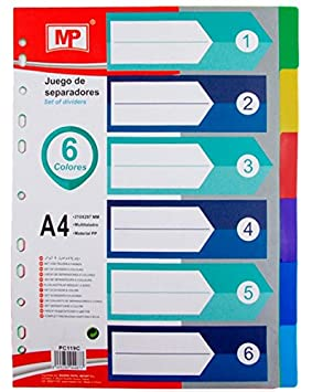 MP PC119C - Juego de separadores para archivador: Amazon.es: Oficina y papelería
