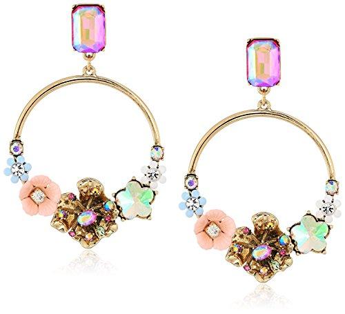 Betsey Johnson Womens Blooming Betsey Floral Gyspy Hoop Drop Earrings, Multi, One Size