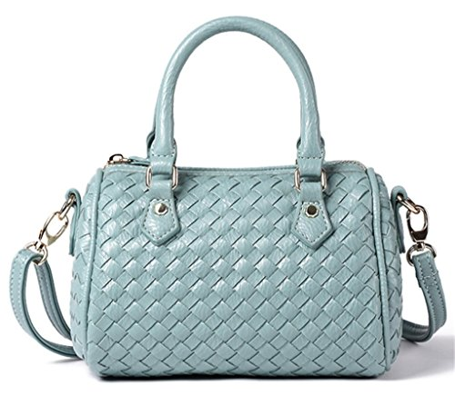 Womens Fashion Handbag New Shoulder Crossbody Handle Blue Bag Light Small Top Woven Leather Zipper rxrYqw