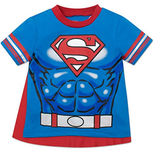 Superman Toddler Boys' T-shirt with Cape, Blue (5T) (Superman Tshirt Kids Costumes)