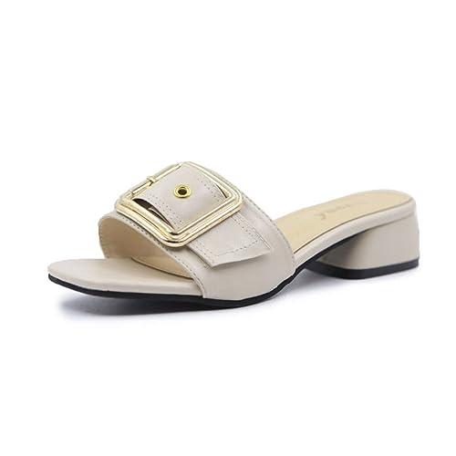 Zapatillas de Cabeza cuadradas Beige de Verano Corchete de Mujer Pantuflas de Tacón bajo Zapatos de Mujer: Amazon.es: Zapatos y complementos