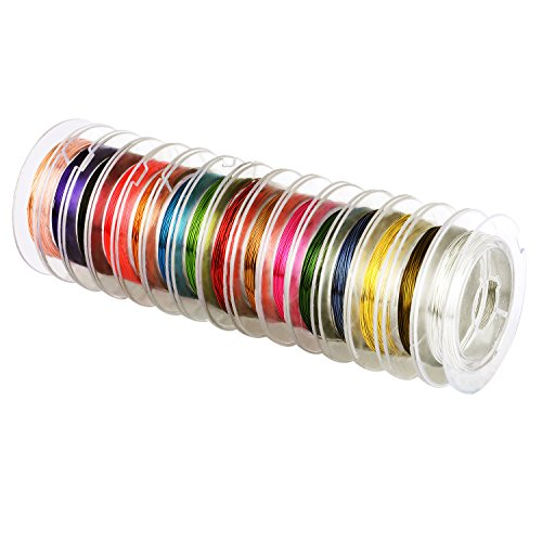 eBoot 15 Pieces 0.3 mm Colorful Jewelry Beading Wire Bare Copper Wire Rolls for Crafting Beading Jewelry Making ()