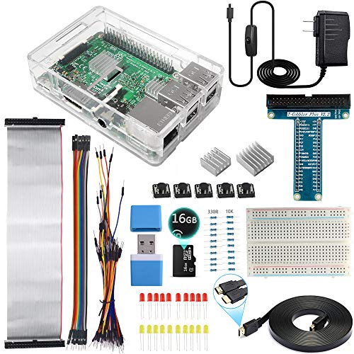 Smraza Ultimate Starter Kit for Raspberry Pi 3 B+, 3 Model B Includes Clear Case,16GB Micro SD Card,2.5A Power Supply,Breadboard,GPIO Breakout Board,Ribbon Cable and HDMI Cable (Ram Via Chip Set)