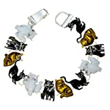 PammyJ Cat Jewelry - Cat Bracelet - Brown White and Black Kitties with Magnetic Closure