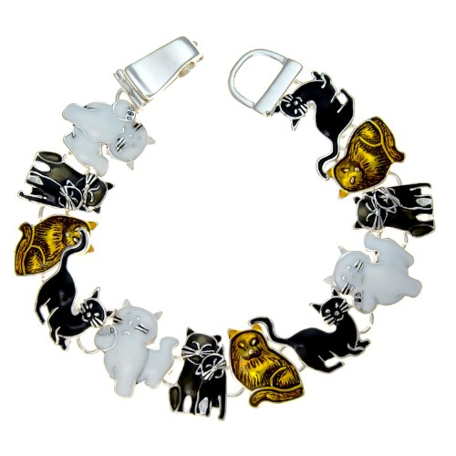 PammyJ Cat Jewelry - Cat Bracelet - Brown White and Black Kitties with Magnetic ()