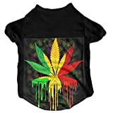Marijuana Leaf Weed Cannabis Dog Clothes T-shirt Pet Coats