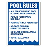 VictoryStore Yard Sign Outdoor Lawn Decorations: Pool Rules Aluminum Sign, Size 18 inch X 24 inch