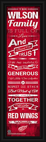 """Hockey Art Detroit Red Wings - Detroit Red Wings Personalized Family Cheer Hockey NHL Framed and Customized 8""""x24"""" Art Print - Enter Your Family Name"""