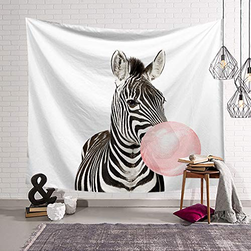 (OATHENE Zebra & Pink Bubble Tapestry,Wall Hanging for Bedroom/Living Room/Dorm, Polyester,60L x 51 W Inches (150cm x 130cm),870)