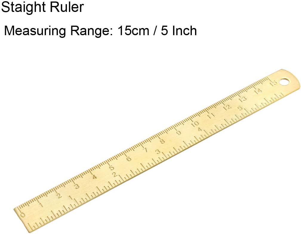 uxcell Measuring Tool Set with Protractor 30//60 Triangle Ruler 15cm 5 Inch Straight Ruler 8cm 3 Inch Caliper Brass