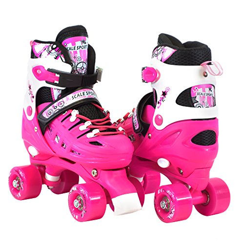Scale Sports Adjustable Pink Quad Roller Skates for Kids Med