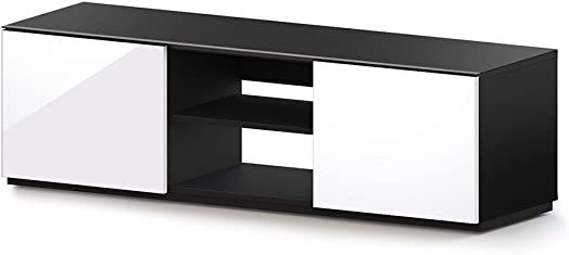 SONOROUS TRD-150 Modern Wood TV Stand for Sizes up to 65 Black White