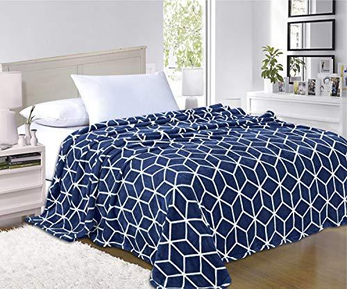 Elegant Comfort  Luxury Velvety-Soft Coral Flannel Blanket Micro-Velour Ultra-Softness Fuzzy Plush, 100% Hypoallergenic, King/California King, Navy Blue (Fleece Blanket Micro Coral)