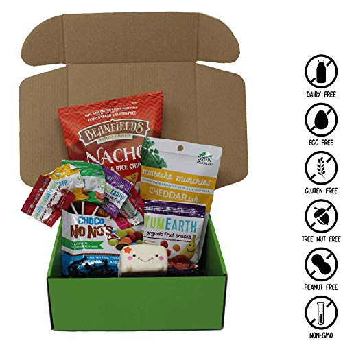 Vegan Kid's Assorted Snack Box- Chocolate Candy, Fruity Lollipops, Chewy Fruit Snacks, Cheddarish Crackers, Nacho Chips, and more! 100% VEGAN, GLUTEN FREE, NUT FREE, AND NON GMO. -VeganWorks- (10 ct.) - Free Message Lollipops