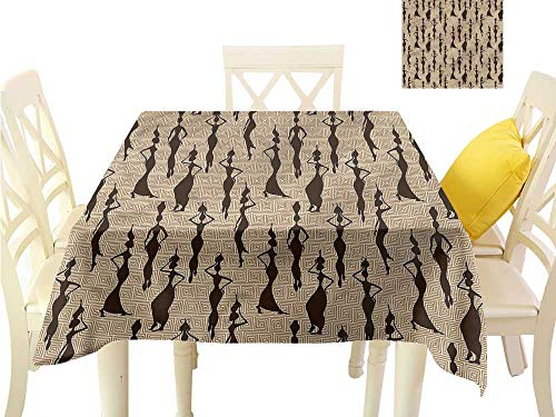 Davishouse Decorative Textured Fabric Tablecloth Woman Carry Water Vases Waterproof/Oil-Proof/Spill-Proof Tabletop Protector W54 x L54