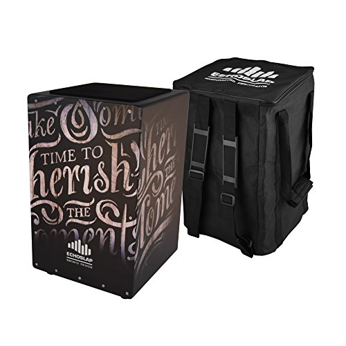 Echoslap GFX Cherish the Moments Cajon, Black, Hand Crafted, 21 Coiled Snare Wires, Deep Bass, Maple Frontplate, Hardwood Body + Free Gig Bag by Echoslap Percussion