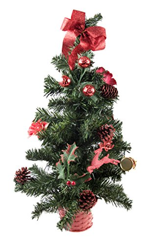 Mini Artificial Christmas Tree with Red Ornaments by Clever Creations   Best Choice Christmas Decoration for Table and Desk Tops   Small 24