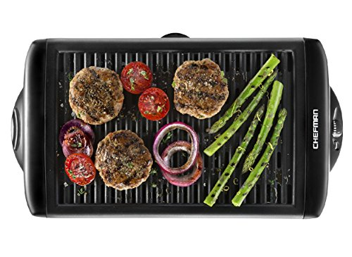 Chefman Electric Smokeless Indoor Grill - XL Griddle w/ Non-Stick Cooking Surface and Adjustable Temperature Knob from Warm to Sear Custome Grilling, Dishwasher Safe Removable Drip Tray, Black