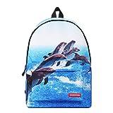 Runningtiger Unique 3D Animal Print Basic Multipurpose Backpacks For Teenagers Kids Schoolbags Travel Bags Laptop Backpacks (dolphin print)
