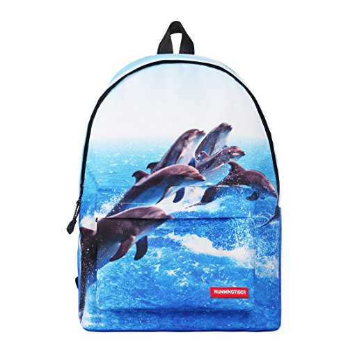Runningtiger Unique 3D Animal Print Basic Multipurpose Backpacks For Teenagers Kids Schoolbags Travel Bags Laptop Backpacks (dolphin print) by Running Tiger