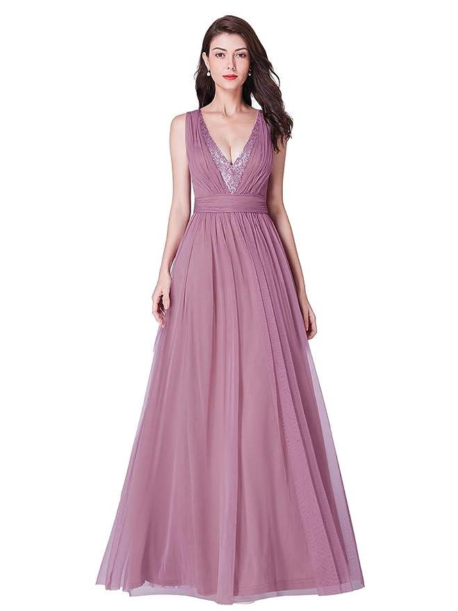 Ever-Pretty Vestido de Fiesta Noche Dama de Honor para Mujer Largo Imperio Cuello V Profundo 07455
