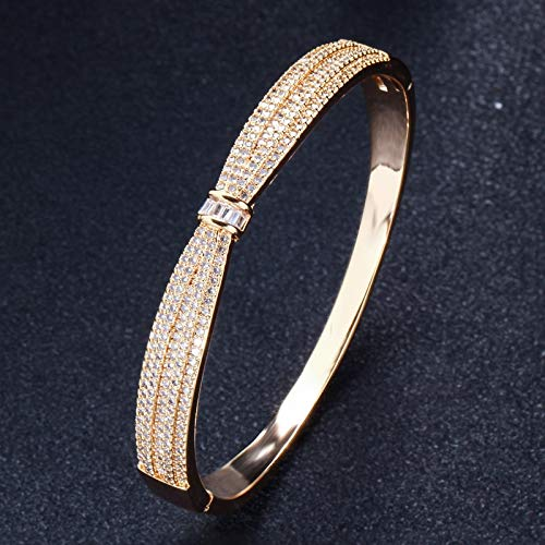 - Sparkling Cubic Yellow Gold Color Silver Big Flower Open Cuff Fashion Bangle | for Gift Women (Yellow Gold Color)