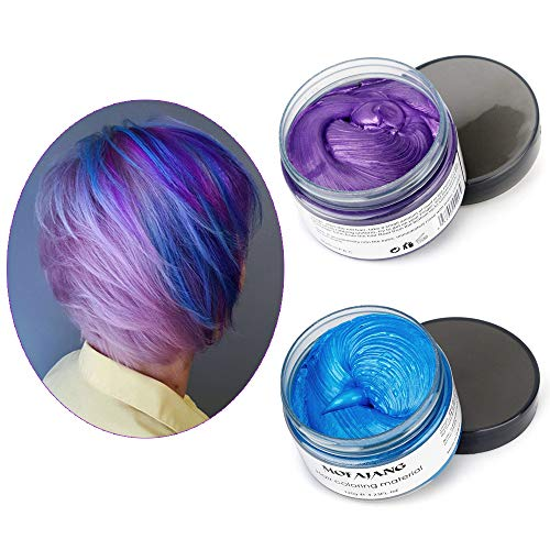 Mofajang Hair Color Wax,INST Temporary Hair Dye,Hair Coloring Wax,Washable Temporary, Natural Hairstyle Color Wax for Party,Halloween,Cosplay(Blue+Purple) by INST