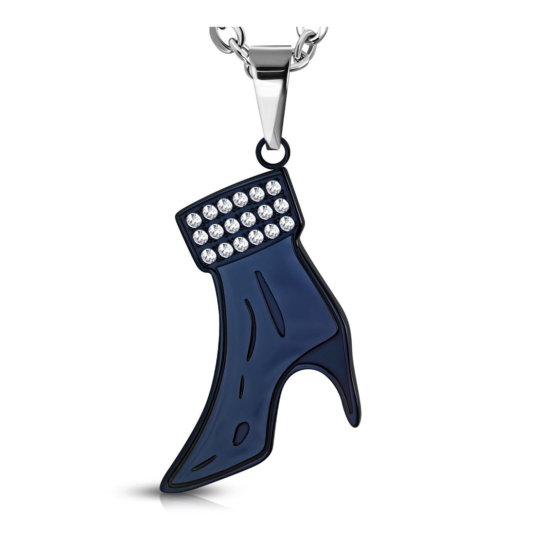 Stainless Steel 2 Color Pave-Set Heel Boot Charm Pendant with Clear CZ