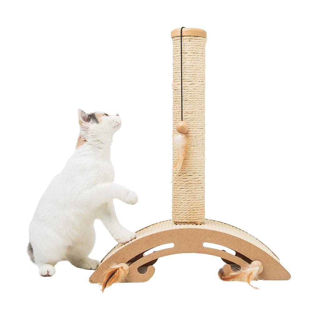MEWANG Cat Scratching Post Kitty Natural Sisal Scratch Pole Morden Design Scratcher Board Base with Interactive Kitten Toys Beige 18.9'' Height by MEWANG