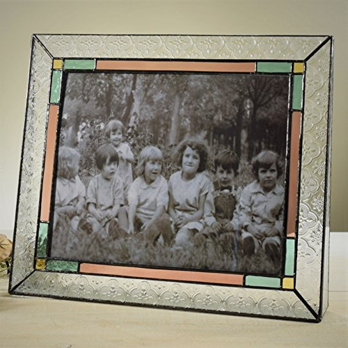 J Devlin Pic 137-81H Horizontal Photo Picture Frame Holds 8x10 Landscape Photo Clear Vintage Texture Sage Green Pale Rose Amber