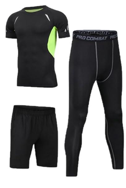 scegli il meglio outlet negozio online Set da Running da Uomo, Abbigliamento da Palestra Collant Elasticizzato a  Compressione Fitness Allenamento Sport Tute da Jogging Abbigliamento ...